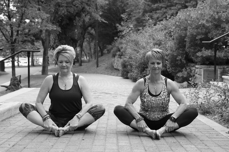 photo of leanne parsons and shirley berthelet bound angle pose